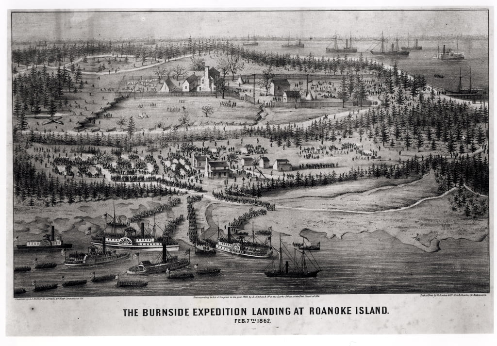 Die Expedition Burnside Landung in Roanoke Island, 7. Februar 1862 von A. J. Richards
