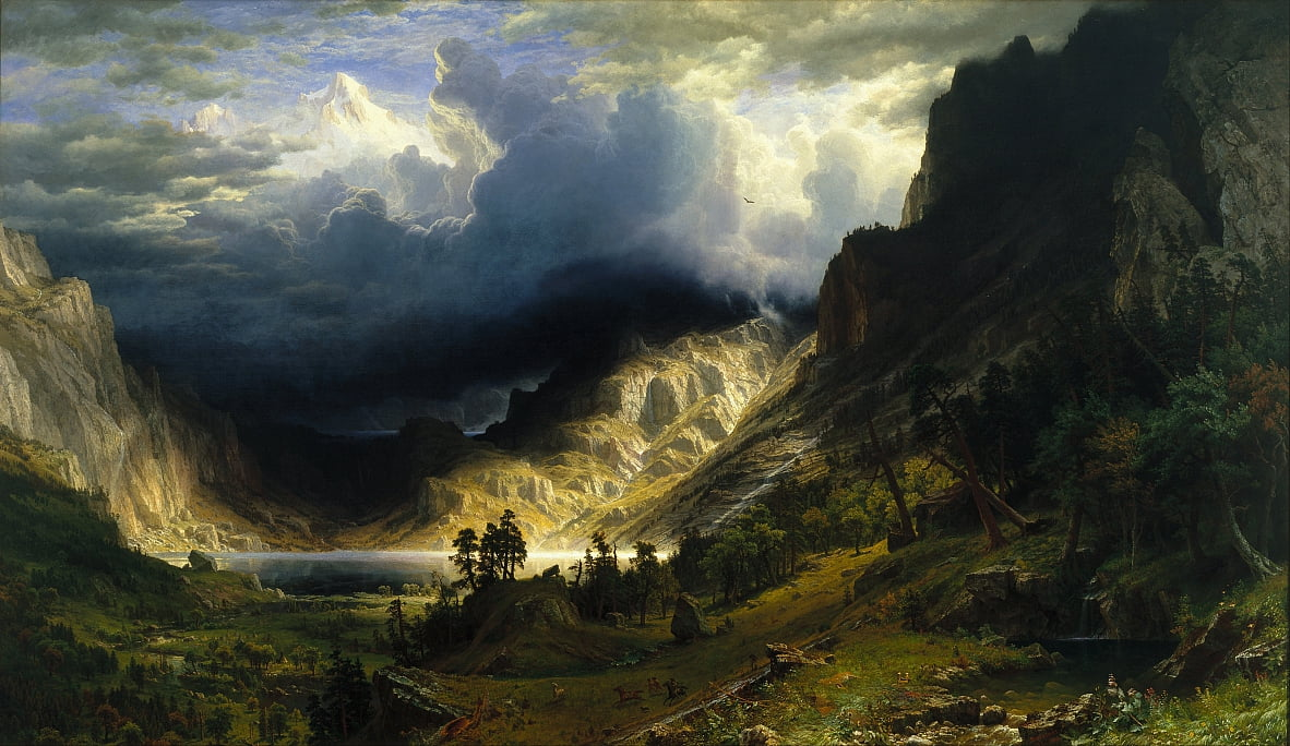Ein Sturm in den Rocky Mountains, Mt. Rosalie von Albert Bierstadt