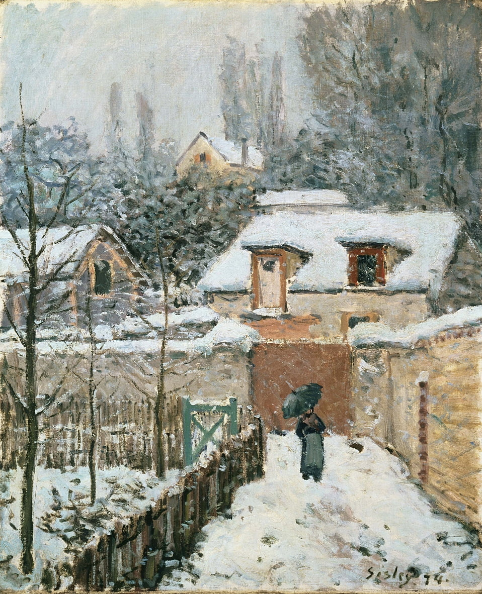Schnee in Louveciennes von Alfred Sisley