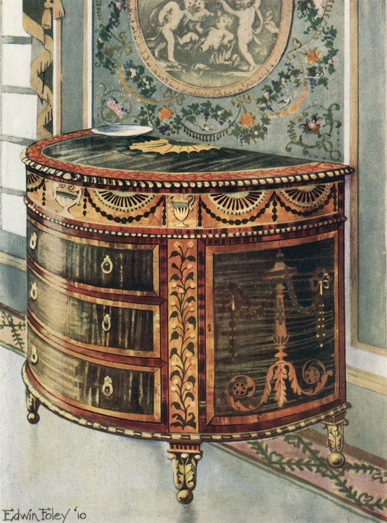 Intarsien Satinholz Commode - Ormolu Mounts von Edwin John Foley