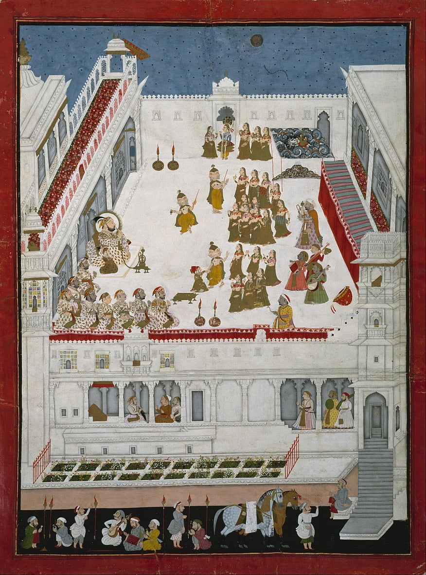 Unknown Indian - Maharana Jagat Singh II und Nobles Watching the Raslila Tanzdramen von Unbekannt Unbekannt