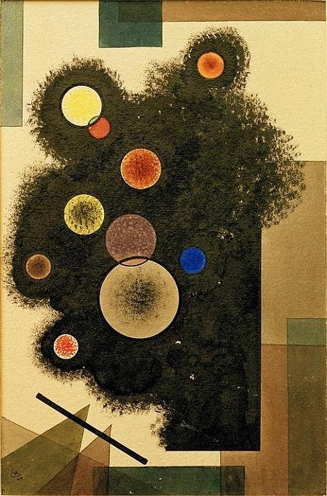 Wassily Kandinsky Kreise auf Schwarz Kunstkarte