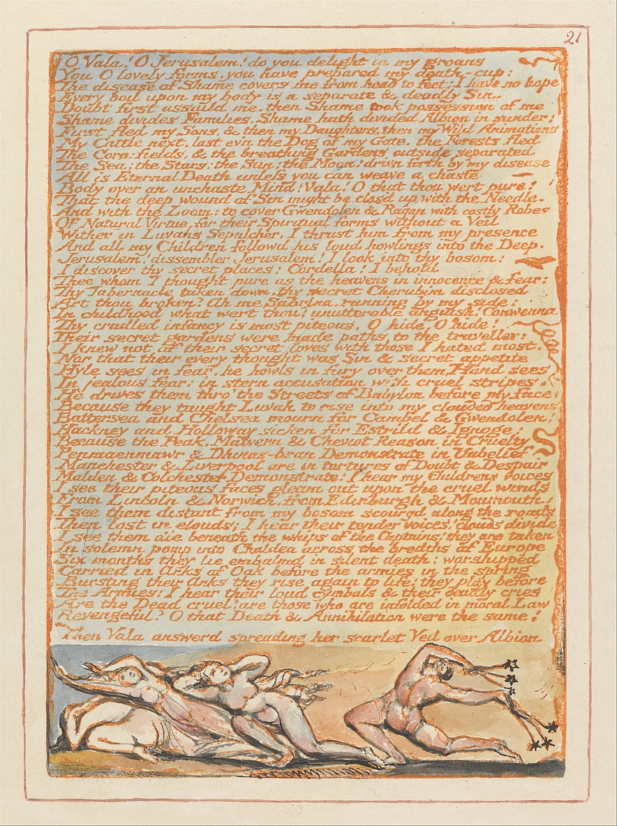 Jerusalem, Tafel 21, O Vala! O Jerusalem .... von William Blake