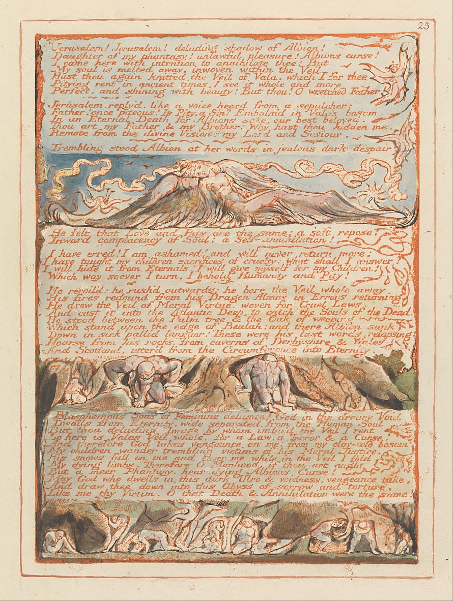 Jerusalem, Tafel 23, Jerusalem! Jerusalem! von William Blake