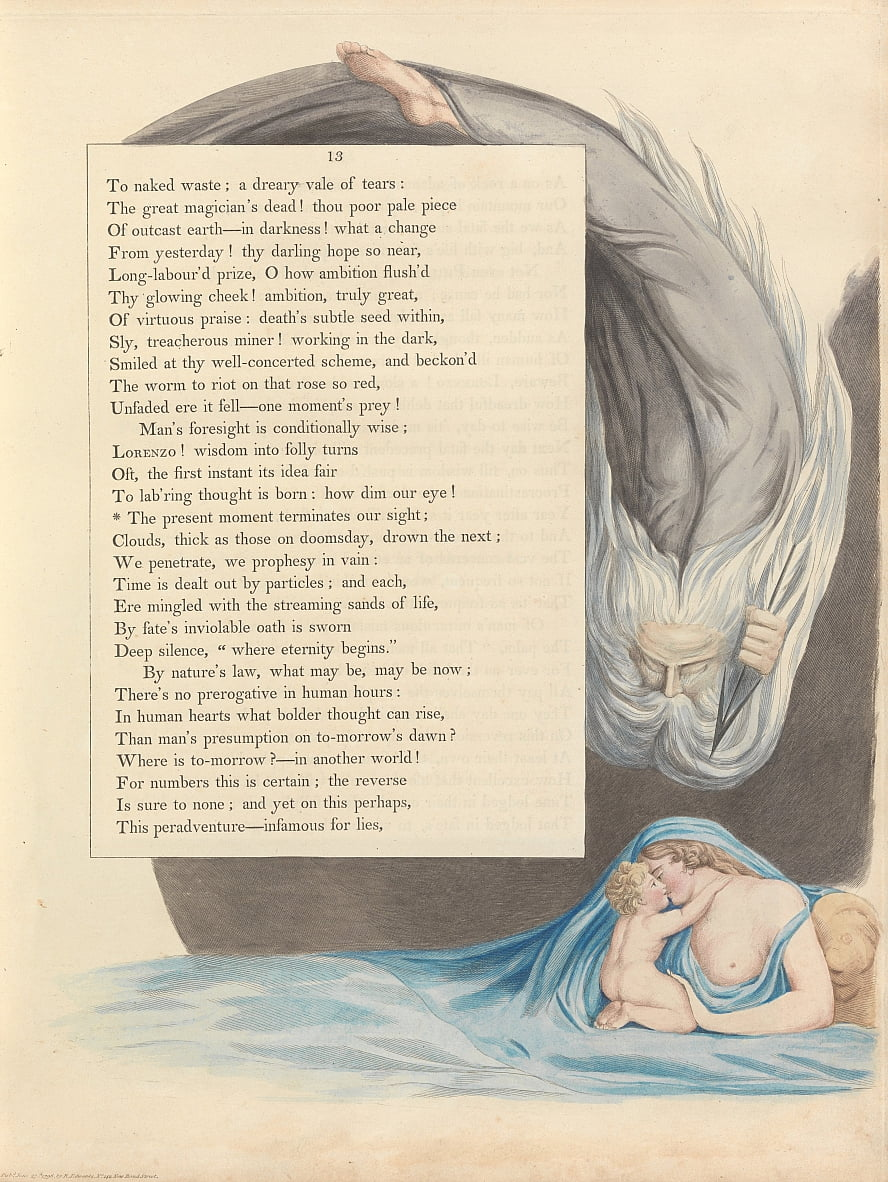 Youngs Night Thoughts, Seite 13, von William Blake