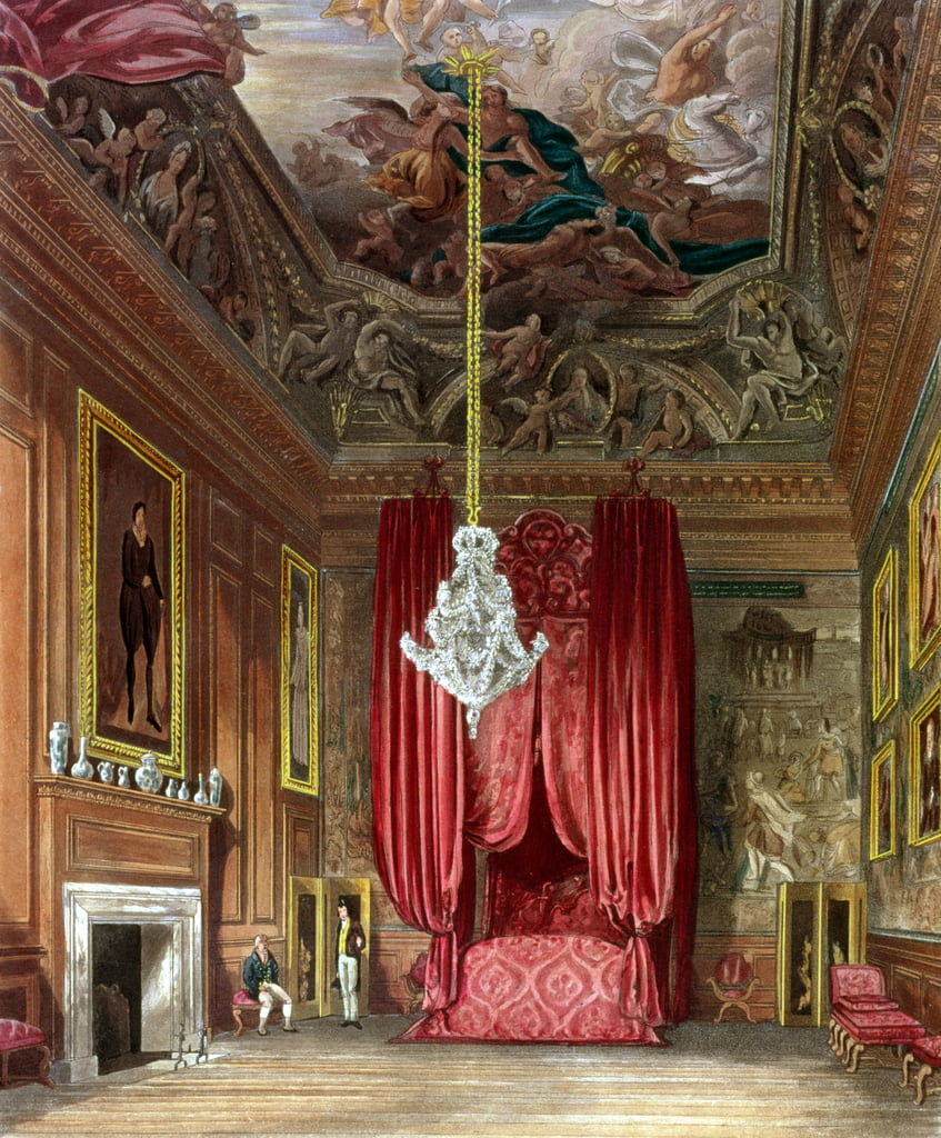 Queen Marys State Bed Chamber, Hampton Court aus Pynes Royal Residences, 1818 von William Henry Pyne